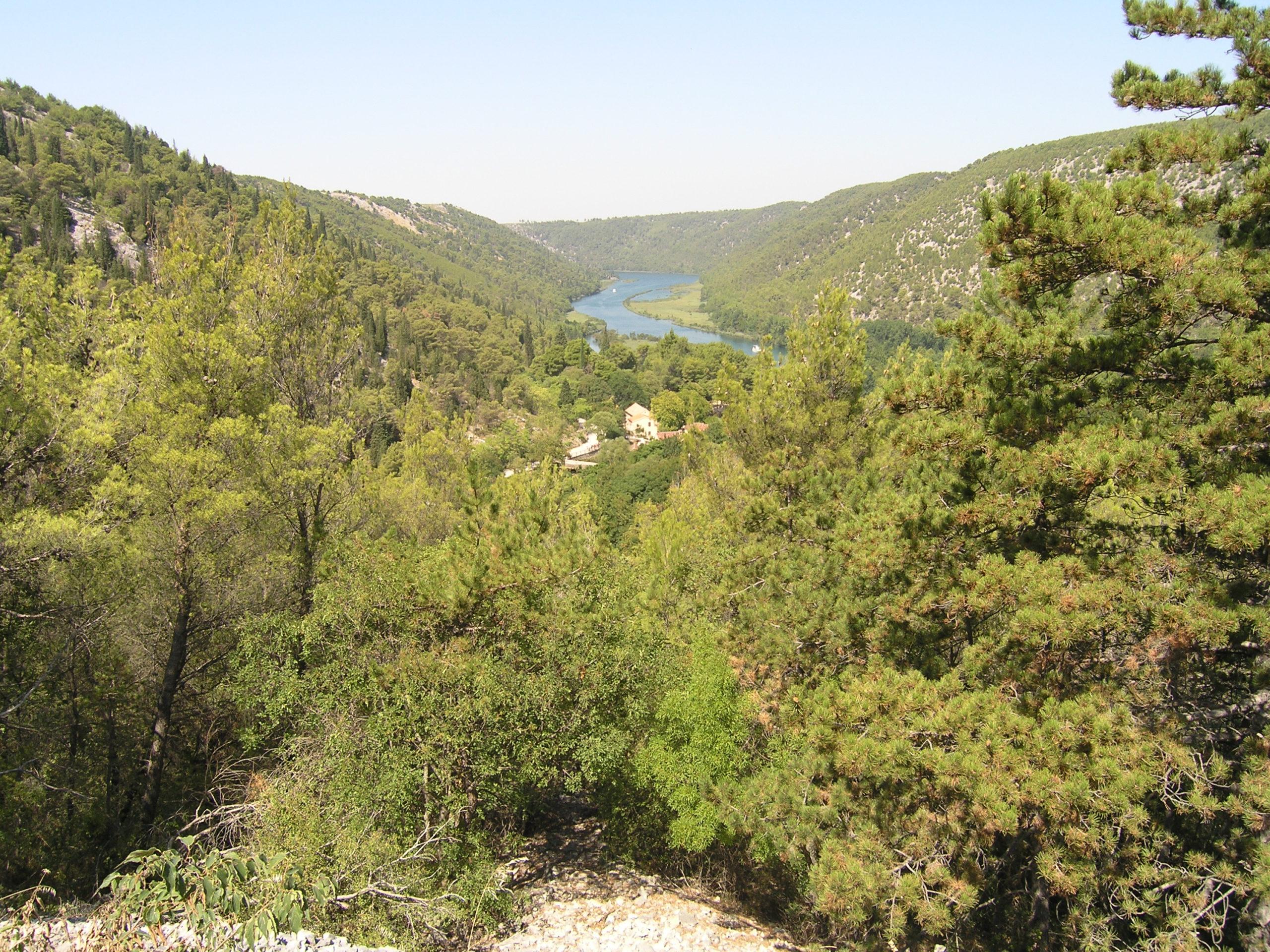 Panorama na rzekę wśród pagórków