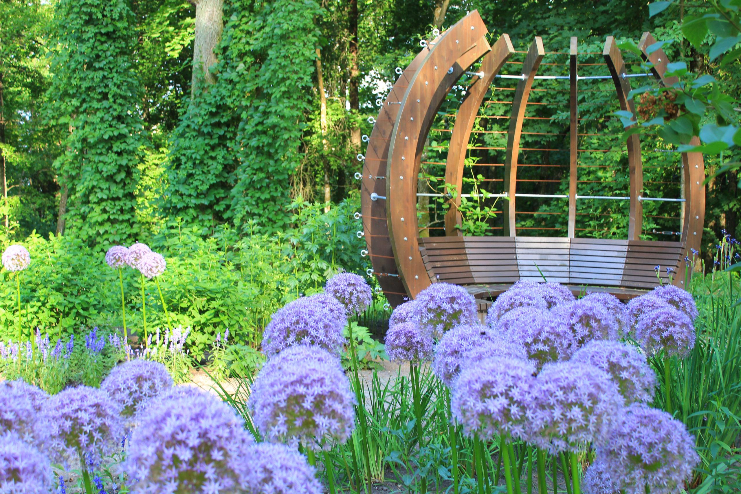 Drewniane miejsce do siedzenia i fioletowe kwiaty