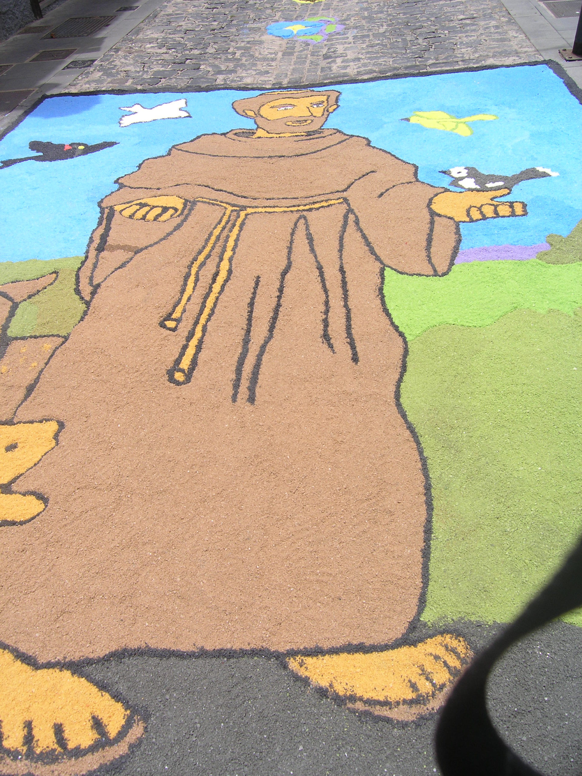 Obraz usypany na drodze Święty Franciszek