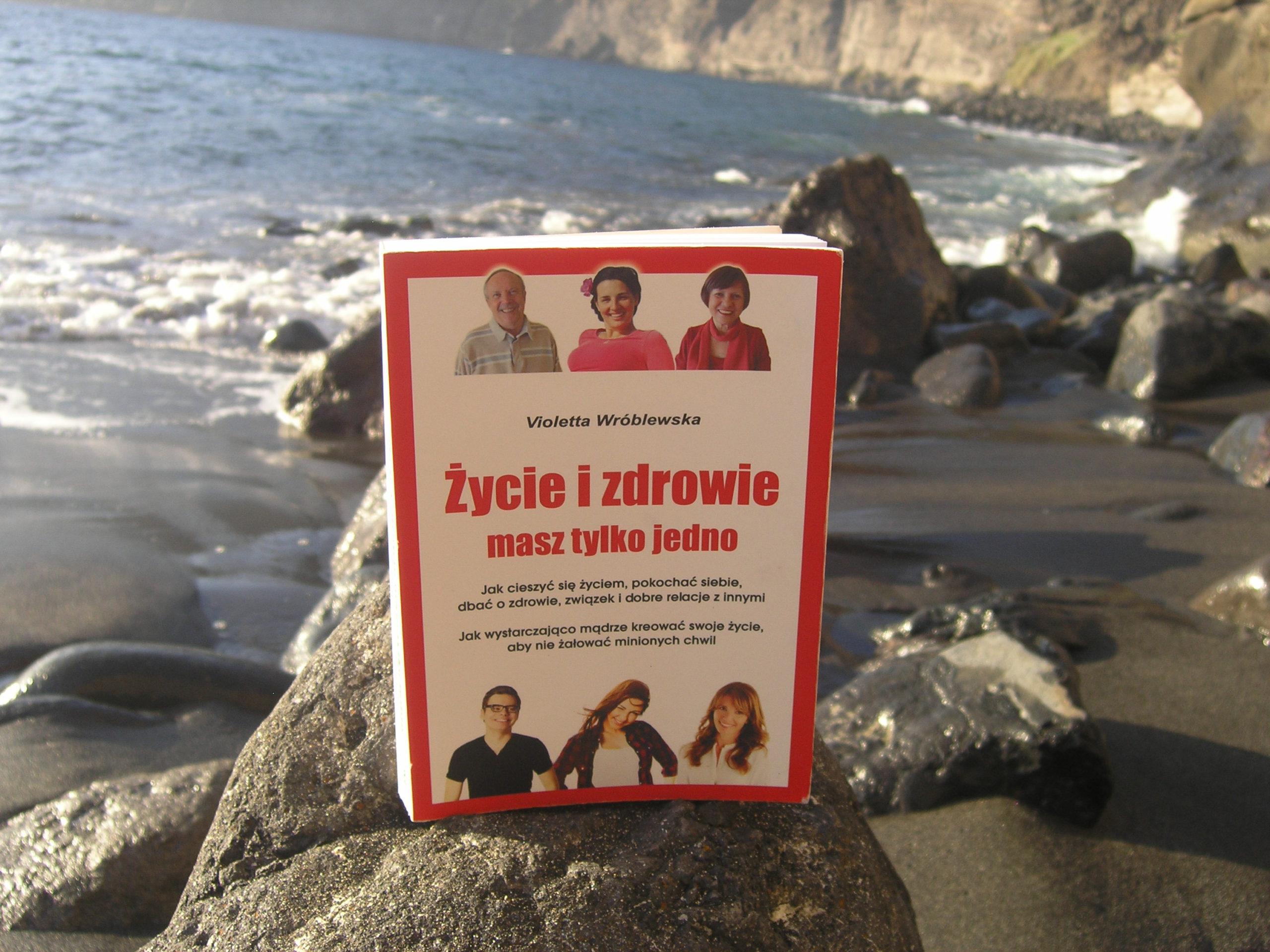 Książka na skalę na brzegu