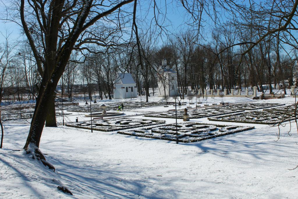 widok na ogród w parku zimą