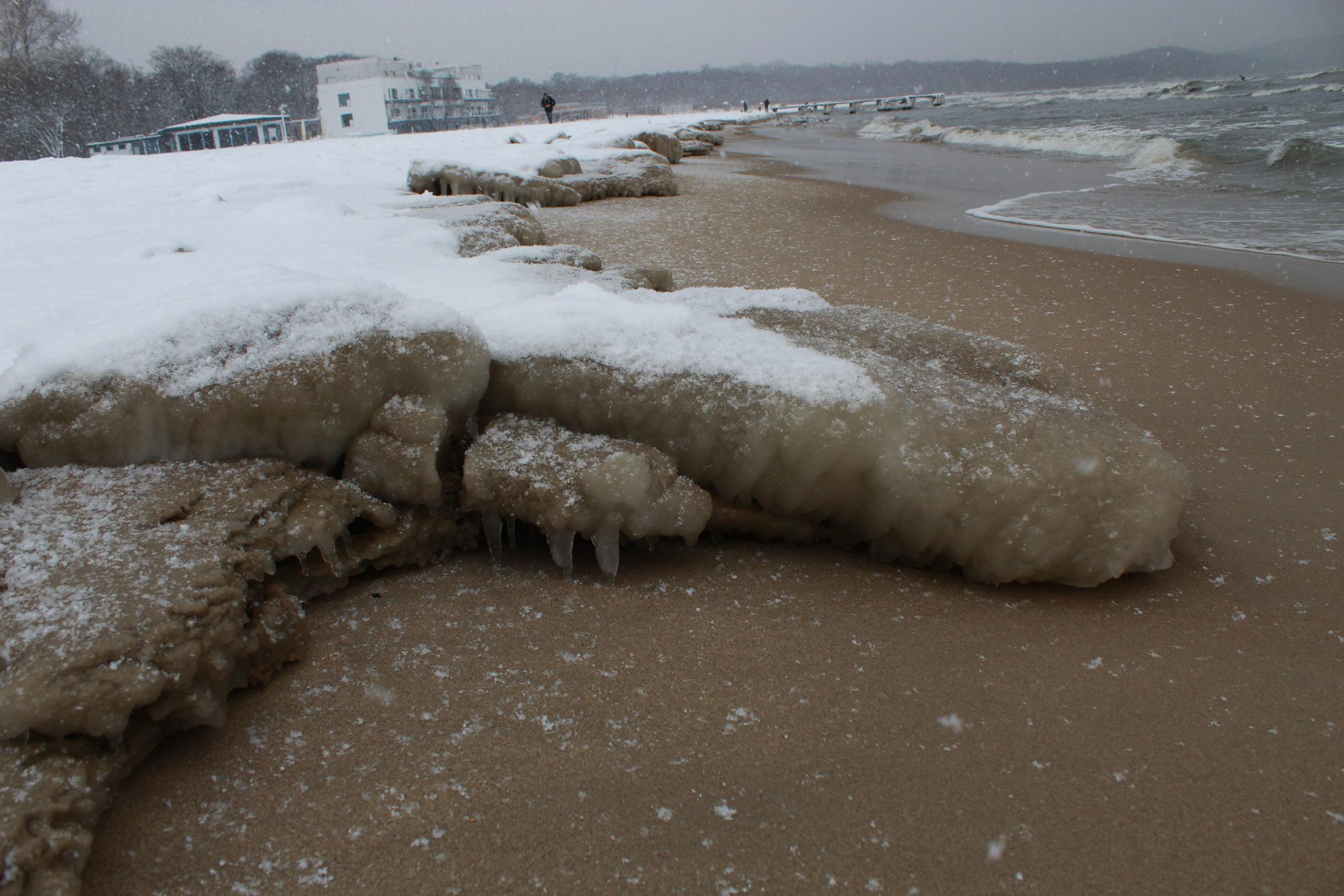 lód na brzegu morza